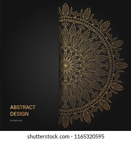 Set of vector design templates. Business card with floral circle ornament. Mandala style. Luxury Gold
