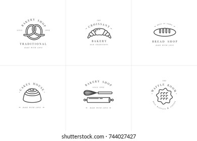 Set vector design templates and emblems - waffle, croissant and pretzel, loaf icon for bakery shop. Sweet shop. Logo in trendy linear style