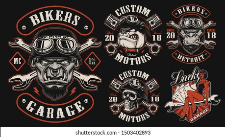 Set of vector designs for biker theme on the dark background, perfect for apparel.