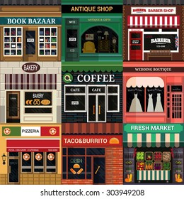 Set of vector detailed flat design cafe, restaurants and shops facade icons.
