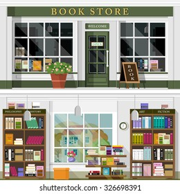 Set of vector detailed flat design bookstore facade. Cool graphic interior design for shop with books, shelves, places for reading. Flat style vector illustration.