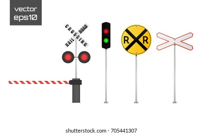 Set of  vector detailed railway warning signs isolated on white background.