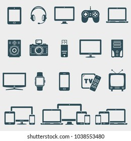 Set of vector devices icons - Shutterstock ID 1038553480