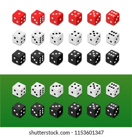 Set of vector Dice on different backgrounds. Red, White and Black dice with numbers from one to six.