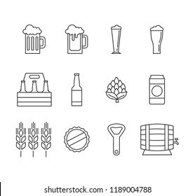 Set of vector different beer line icons on white background