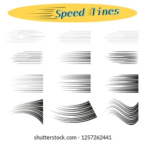 Set of vector different options of simple horizontal lines of speed, movement, black color. Manga cartoon design elements on white isolated background.