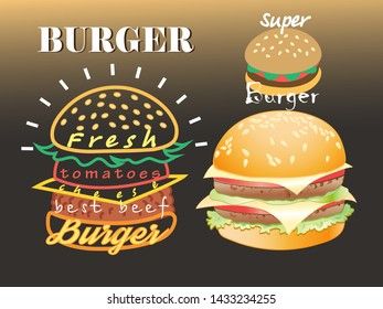Set of vector different super burgers on a dark Phoneso lettering. An example for a menu, poster or billboard design.