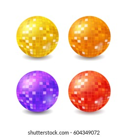 Set of vector disco balls, realistic vector mirror balls isilated on white background