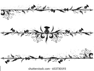 set of vector dividers with thistle in black and white colors