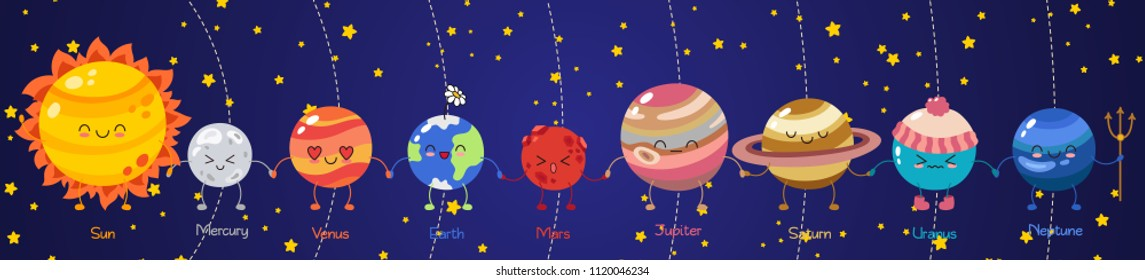 Set of vector doodle cartoon icons planets of solar system. Comic colored funny characters. Children's education. Wallpaper, background, symbols, template for web design, greeting card, cover, poster