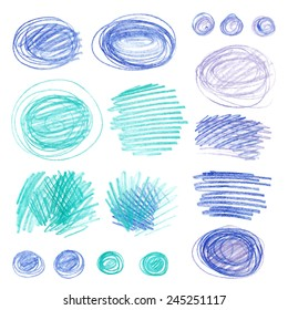 Set of vector doodle with crayons. Children sketches colored pencils on white paper