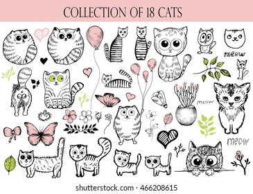 Set Vector doodle cute cats and balloon, butterfly, flower and heart, hand drawn illustration