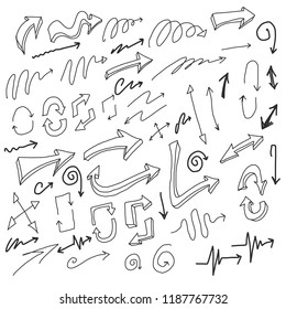 Set of vector doodle drawing Collection Arrow on white background