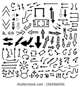 Set Of Vector Doodle Drawing Collection Arrow