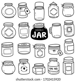 Set of vector doodle element related to jars. Set of hand-drawn empty jars isolated over white background.