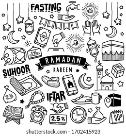 Set of vector doodle element related to holly Ramadan. Set of hand drawn symbols and  icons for holy Muslim festival Ramadan.