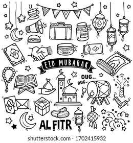 Set of vector doodle element related to Eid Mubarak. Set of hand drawn symbols and  icons for holy Muslim festival Eid ul-Fitr.