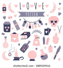 Set of vector doodle elements. Magic objects on a white background. Occultism, witchcraft, love potion, love spell. Hand-drawn vector illustration.