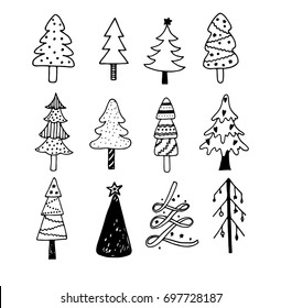 Set of vector doodle hand drawn Christmas trees isolated on white background.