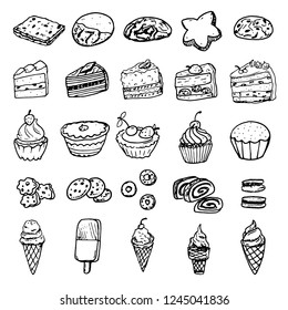 Set of vector doodle pictures illustrations - different kinds of cookies and cakes, isolated. Cracker, biscuit, cakes, sweet roll, shall shaped cookie, ice cream.