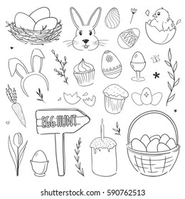 Set of vector doodles with chicken, rabbit, ornamental eggs, nest, flowers. Easter illustrations.