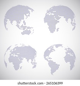 Set of vector dotted globes in different views
