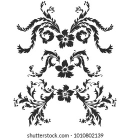 Set of vector drawing baroque pattern elements, decorative silhouette of flower and leaves