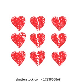 Set of vector drawings of handmade broken hearts on a white isolated background, flat. Romantic background, symbol, wrapping, gifts, holiday, greeting card, decoration.