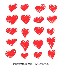 Set of vector drawings of handmade hearts on a white isolated background, flat. Romantic background, symbol, wrapping, gifts, holiday, greeting card, decoration