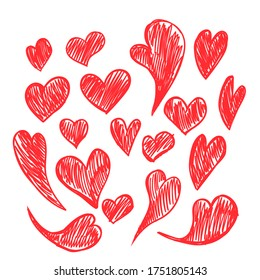 Set of vector drawings of handmade hearts on a white isolated background, flat. Romantic background, symbol, wrapping, gifts, holiday, greeting card, decoration.