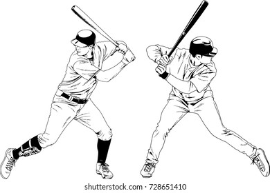 set of vector drawings on the theme of sport baseball drawn ink from hands without a background