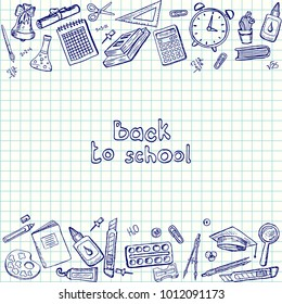 Set of vector drawings. School supplies on a sheet of paper.
