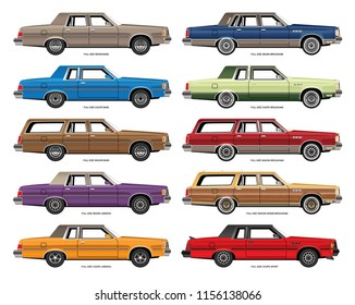 Set of vector drawings of variations of vintage full size sedans, coupes, and wagons.