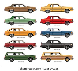 Set of vector drawings of variations of vintage mid size sedans, coupes and wagons.