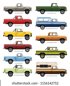 Set of vector drawings of variations of vintage full size pickup trucks.