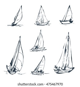 Set of vector drawings of yachts. Figures in the form of a sketch. It can be used to design brochures, advertising, travel.