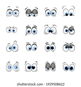 set of vector drawn blue eyes with different emotions