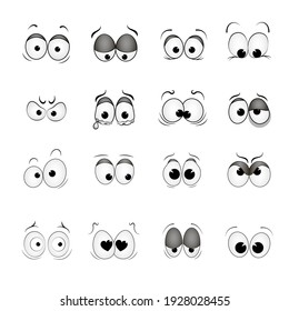 set of vector drawn eyes with different emotions