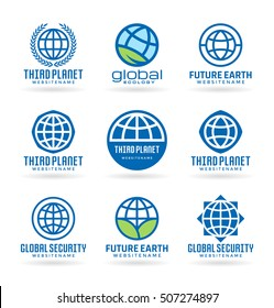 Set of vector Earth Icons and logo design elements. Vector illustrations and logotype templates (7)