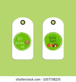 set vector eco badge tag bio stock vector royalty free 1059172343
