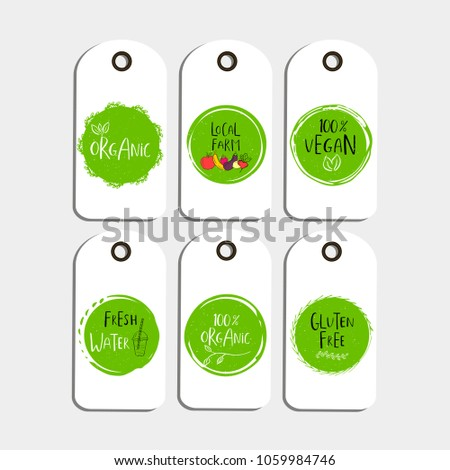 set vector eco badge tag bio stock vector royalty free 1059984746