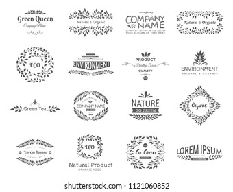 Set of vector eco elements. Go green, organic, healthy food, eco, bio. Logo template. Ecological and nature.