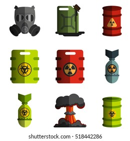 set of vector ecology icon image objects polluting the environment, nuclear and biological weapons