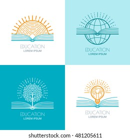 Set of vector education logo, icons, emblems design elements. Open book, sun, globe, tree and and light bulb linear symbol. Online education, training, learning concept.