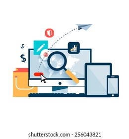 Set vector element for infographics. Computer with world map magnifying glass, which  looking for information on Internet. Arrow button. fly paper airplane. Yellow bag shopping, tablet, smartphone