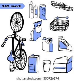 Set of vector elements: bicycle, bucket, canister.coil of rope, disposable towels. Items contained in the garage. Materials for the construction. Things to garage sale. Tools for the garden and home.