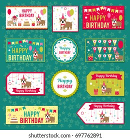 Set of vector elements for birthday design. Labels, stickers, tags for gifts, invitations and congratulations. Perfect for printing on paper, design.
