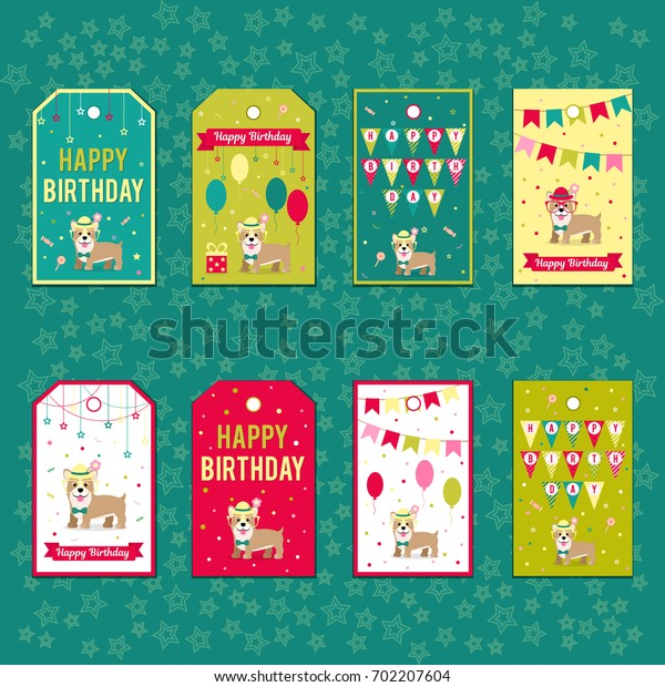 Set of vector elements for birthday design. Labels, stickers, tags for gifts, invitations and congratulations. Children's holiday