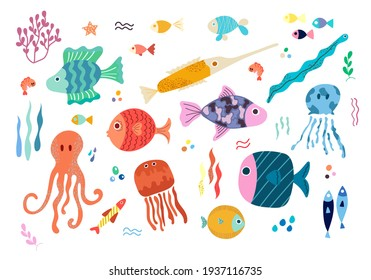 A set of vector elements with colorful tropical sea fish, octopuses and sea animals in a Scandinavian style on a white background. Children's vector illustration for pajamas, fabrics, postcards