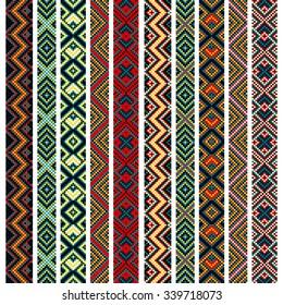 Set of vector elements of folk embroidery, stitch, stitching, border. Seamless pattern.